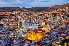 Guanajuato Cityscape at Dusk, Guanajuato State, Mexico stock image