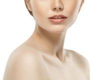 Guance del mento del naso delle labbra della spalla del collo della donna Immagini Stock Libere da Diritti