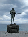 Guanches indians statues located at Plaza de la Patrona de Canarias at Candelaria, Tenerife, Canarian Island, Spain.  Stock Photography