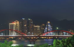 Guandu Bridge night cityscape Taipei Taiwan Royalty Free Stock Photo