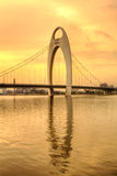 Guang Zhou City,China. Sunset scene of pearl river bridge,Guangzhou,China.Hdr stock photography