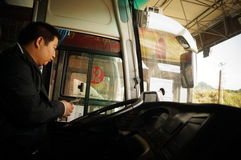 Guangdong, China: bus drivers go through checkpoints Stock Image