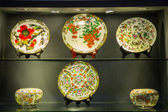 Guangdong Museum of ceramic plates of various colors Royalty Free Stock Photo