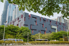Guangdong Provincial Museum, the design of the purple and red box. Stock Photos