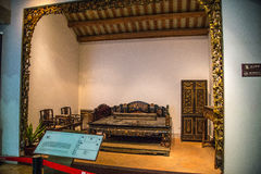 The Guangdong Provincial Museum is a room with a carved wooden art in the Qing Dynasty Royalty Free Stock Photo