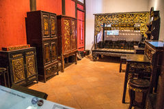 The Guangdong Provincial Museum is a room with a carved wooden art in the Qing Dynasty Royalty Free Stock Photography