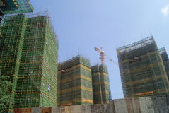 Guangdong Zhongshan, China: many-storied buildings under construction Stock Photo