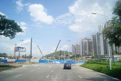 Guangdong Zhongshan, China: residential area and road traffic Stock Photography