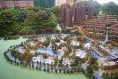 Guangdong Zhongshan, China: residential building model of real estate sales hall. Residential landscape architecture model of Guangdong Zhongshan real estate Stock Photos