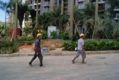Guangdong Zhongshan, China: residential green belt construction Stock Photography