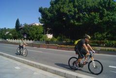 Guangdong Zhongshan, China: riding a bike Stock Photography