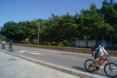 Guangdong Zhongshan, China: riding a bike Stock Image