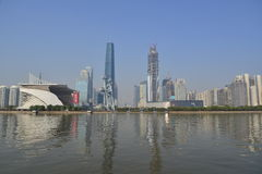 Guanghzou city and Pearl river (Zhujiang river) Royalty Free Stock Images