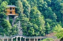 Guangxi Jin Xiu scenery. Mountain,chinese   house,bridge Stock Photography