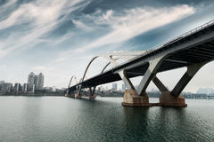 Modern arch bridge in south China Royalty Free Stock Image