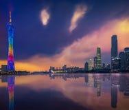Guangzhou & ηλιοβασίλεμα στοκ φωτογραφίες
