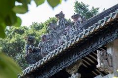 Guangzhou, attractions touristiques célèbres du ` s de la Chine, hall héréditaire de Chen, toit avec le processus de bâti de chau Photo stock