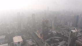 Guangzhou in backlight Wolken op de stad zijn gedaald die