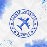 Guangzhou Baiyun Airport logo. Airport stamp watercolor vector illustration. Guangzhou aerodrome vector illustration