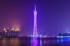 Guangzhou bij nacht, China Stock Foto