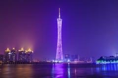 Guangzhou bij nacht, China stock foto