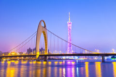 Guangzhou bridge at night in China Stock Photo