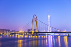 Guangzhou bridge at night in China Royalty Free Stock Image