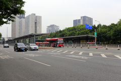 Guangzhou brt station in the middle of the road Royalty Free Stock Images
