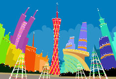 Guangzhou China Abstract Skyline City Skyscraper Stock Images