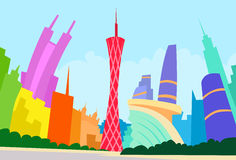 Guangzhou China Abstract Skyline City Skyscraper. Silhouette Flat Colorful Vector Illustration Royalty Free Stock Photos