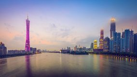 Guangzhou, China. City skyline panorama over the Pearl River stock photography