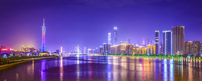 Guangzhou, China. City skyline panorama over the Pearl River Stock Photo
