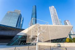 GUANGZHOU CHINA - DECEMBER 10 2016 : Guangzhou Opera House and central business building at sunshine day. On Dec. 10 2016 Royalty Free Stock Images