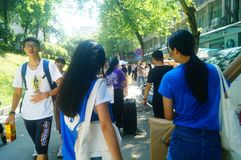 Guangzhou, China: on the first day of college, many freshmen arrive at the university campus