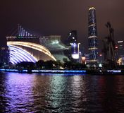 Guangzhou China night view from the Pearl River. Famous IFC international finance center building and stadium with lights from the boat colors landscape Chinese Stock Images