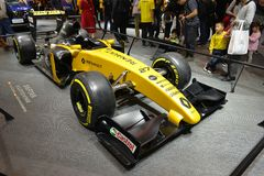 Renault F1 racing car. Guangzhou, China - November 18, 2017: Renault Formula One car was exhibited in the 15th China Guangzhou International Automobile Royalty Free Stock Images