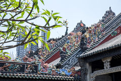 Guangzhou, China`s famous tourist attractions, Chen ancestral hall, roof with lime molding process to produce decorative works of Royalty Free Stock Photo