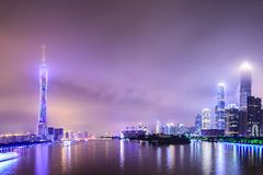 Guangzhou, China. Skyline on the Pearl River stock photos