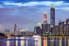 Guangzhou, China. Skyline on the Pearl River Stock Image