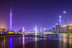 Guangzhou, China. Skyline on the Pearl River stock photography