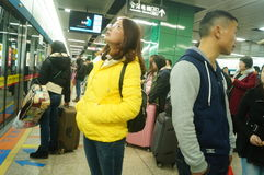 Guangzhou, China: transporte de los coches de subterráneo Foto de archivo