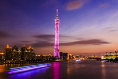 Guangzhou China. Zhujiang River and modern building of financial district in guangzhou china Stock Photos