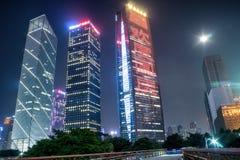 GUANGZHOU, CHINY - Sept 28: Noc widok Zhujiang Nowy miasteczko Zh Zdjęcie Royalty Free