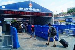 Guangzhou, Chiny: guangzhou staci kolejowej kwadrata krajobraz, zwyczajni goście, ordynans fotografia royalty free