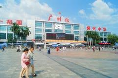Guangzhou, Chiny: guangzhou staci kolejowej kwadrata krajobraz, zwyczajni goście, ordynans fotografia stock