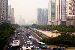 Guangzhou City. Blocked roads and polluted air in Guangzhou China.  September 26th, 2010 Stock Photography