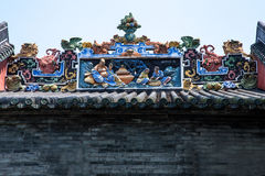 Guangzhou City, China famous tourist attractions, Chen ancestral hall roof art decoration Stock Photo