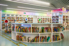 Guangzhou city library, Guangdong, china. This is a library of children`s books and shelves in the library, a very modern design of cable, very shocking very royalty free stock photography