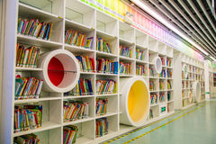 Guangzhou city library, Guangdong, china. This is a library of children`s books and shelves in the library, a very modern design of cable, very shocking very stock photography