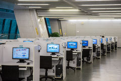 Guangzhou city library, Guangdong, china. This is the computer room inside the library, the Internet access to information purposes royalty free stock images